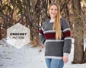 Striped Belle Sleeve Sweater Crochet PATTERN