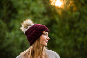 Two-Toned Burgandy Double Brim Toque