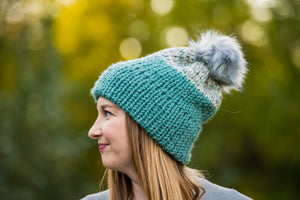 Two-Toned Teal Double Brim Toque