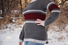 Load image into Gallery viewer, Striped Belle Sleeve Sweater Crochet PATTERN