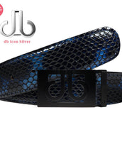 Black & Blue Shiny Snakeskin Texture Leather Belt with Classic Buckle - Matte Black