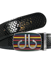 Black Snakeskin Texture Leather Belt with Multi-color Striped Buckle