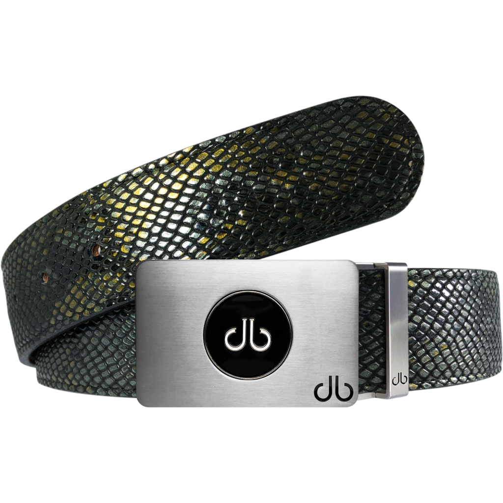 Gold and Black Snakeskin Leather Belt with Black Ballmarker Buckle