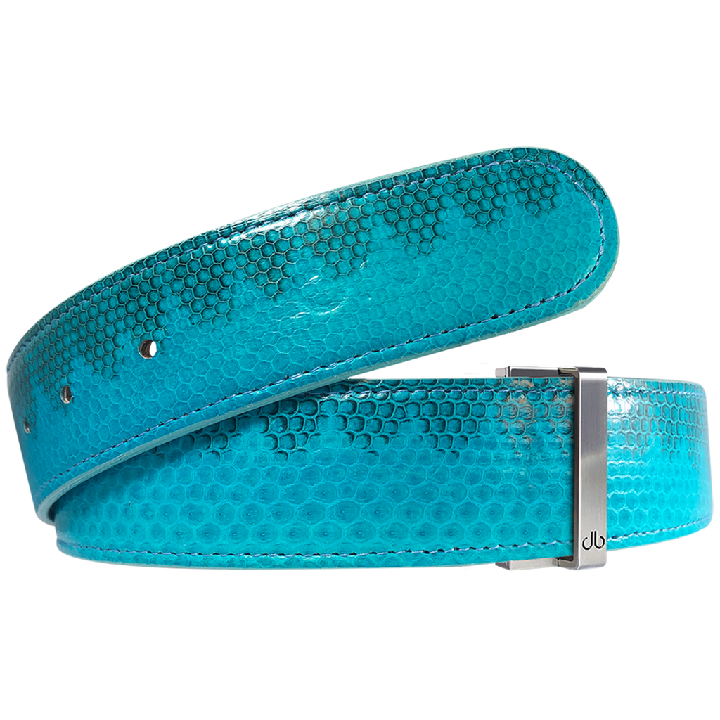 Light Blue Snakeskin Leather Belt