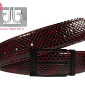 Shiny Snakeskin Texture Belt Burgundy & Black with Matte Prong Buckle