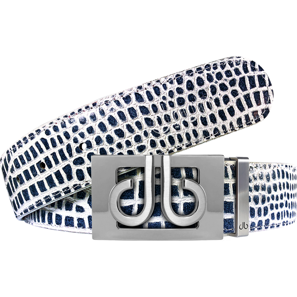 Blue and White Crocodile Textured Leather Belt with Buckle