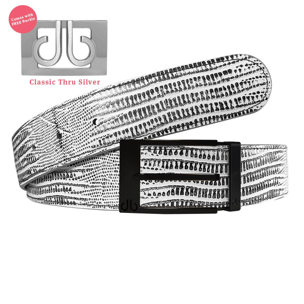 Matte Black Prong Buckle with Black and White Lizard Patterned Leather Belt