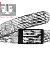Black & White Lizard Patterned Leather Belt with Prong Buckle - Matte Black