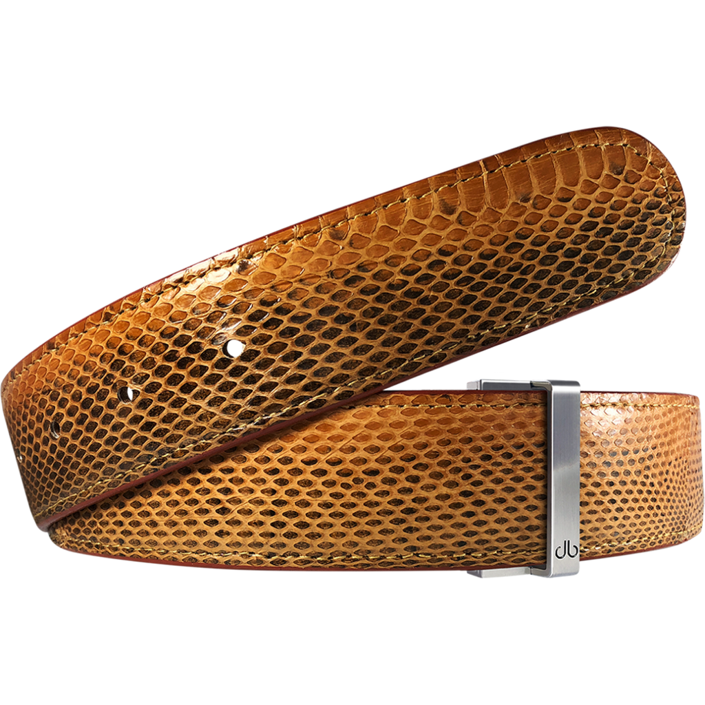 Medium Brown Snakeskin Leather Belt