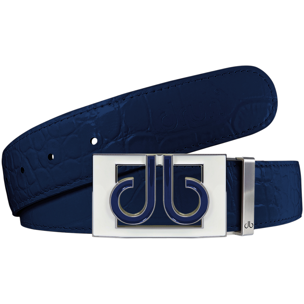 Blue Crocodile Textured Leather Belt with Buckle