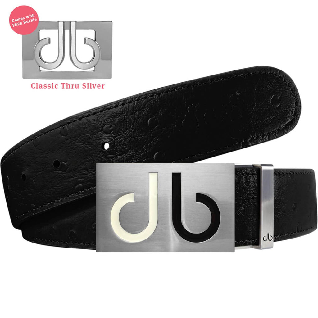 White & Black Two Tones Buckle with Black Ostrich Patterned Leather Belt