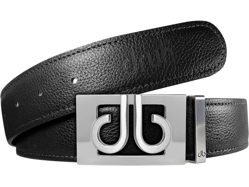Black Full Grain Textured Leather Strap with Buckle