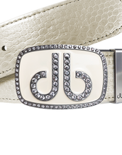 White Snakeskin Leather Belt with buckle