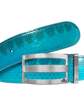 Light Blue Snakeskin Leather Belt with Buckle