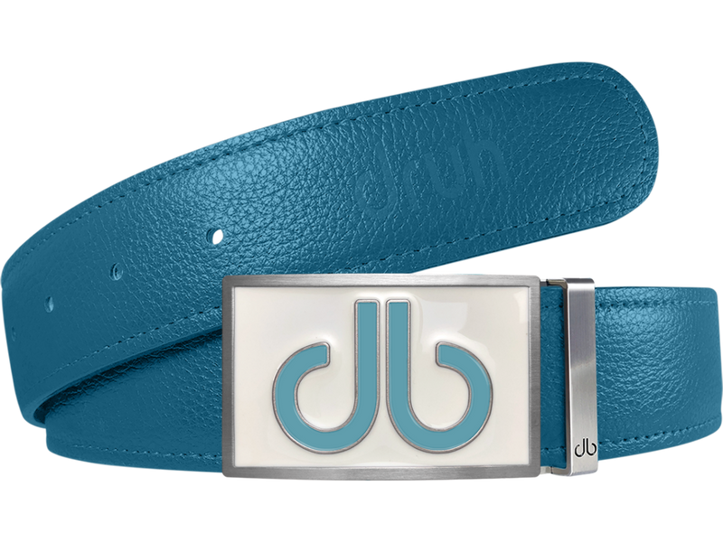 Aqua Full Grain Textured Leather Strap with Buckle