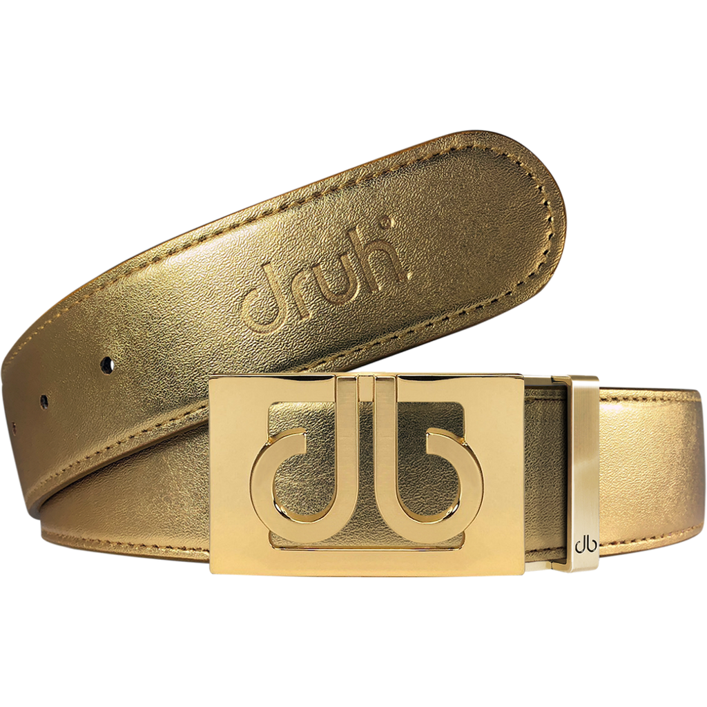 Gold Plain Leather Texture Belt with buckle