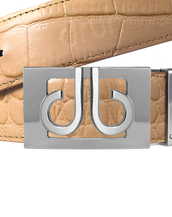 Tan Crocodile Textured Leather Belt with Buckle