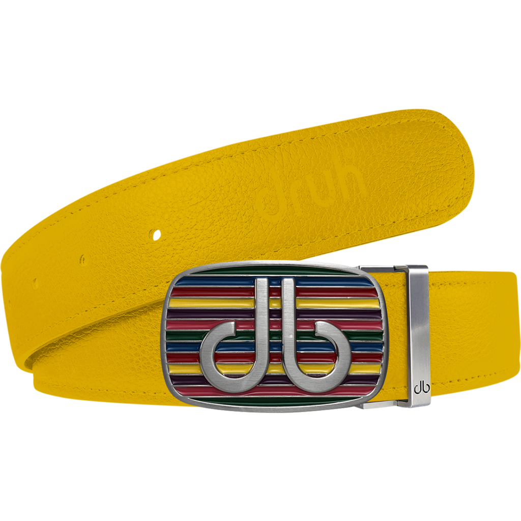 Yellow Full Grain Textured Leather Strap with Buckle