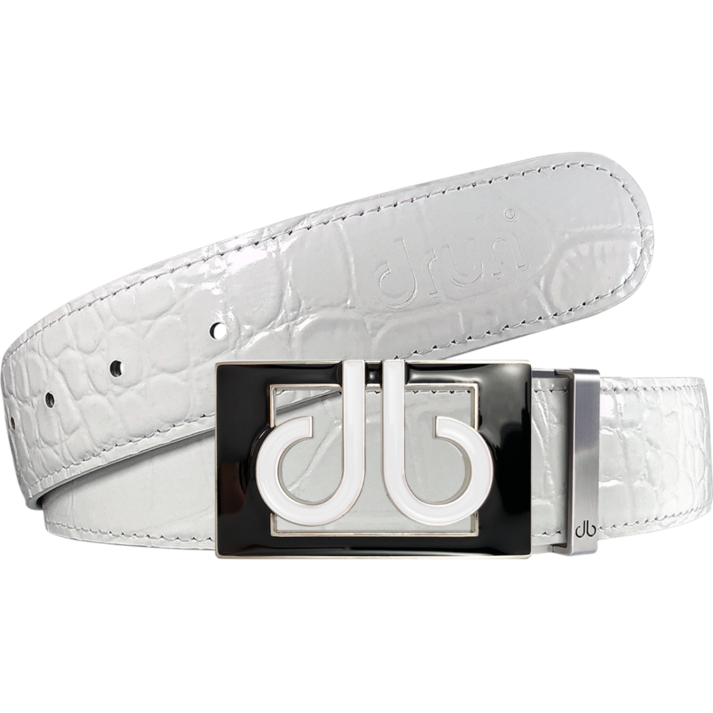 White Crocodile Textured Leather Belt with Buckle