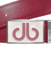 Pink Full Grain Leather Texture Belt with Buckle