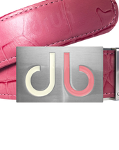 Pink Crocodile Textured Leather Belt with Buckle