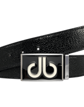 Black Stingray Texture Leather Belt