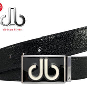 Black & White Double Infill Buckle with Black Stingray Patterned Leather Belt