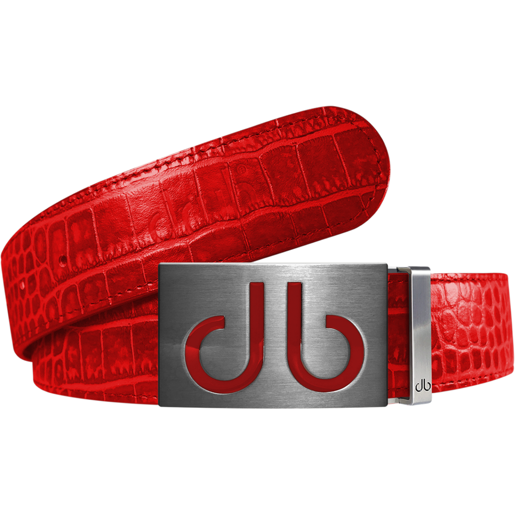 Red Crocodile Textured Leather Belt with Buckle