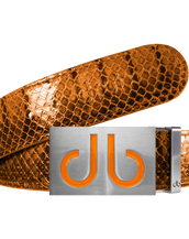 Orange Snakeskin Leather Belt with Buckle