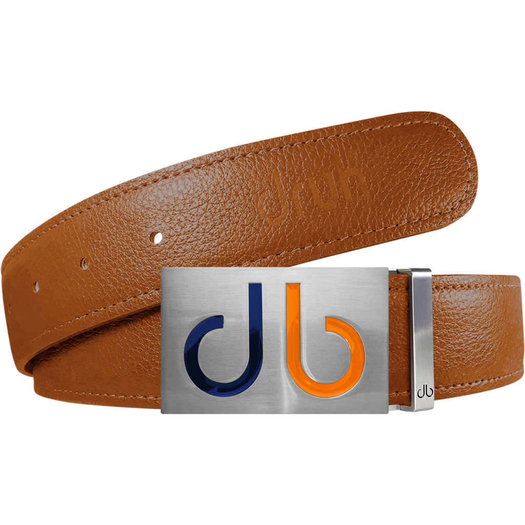 Orange Full Grain Textured Leather Strap with Buckle