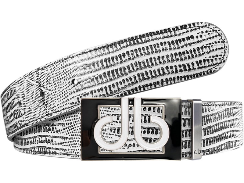 White and Black Lizard Texture Leather Belt with buckle