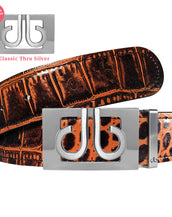 Silver Thru Classic with Brown Crocodile Patterned Leather Belt
