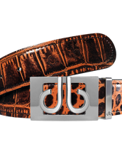 Brown Crocodile Textured Leather Belt with Buckle