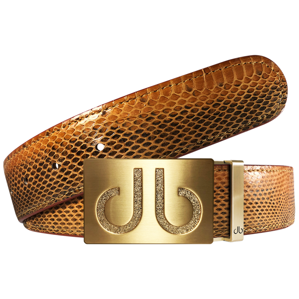 Dark Brown Snakeskin Leather Belt with buckle