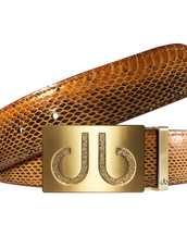 Gold Infill Buckle with Dark Brown Snakeskin Belt