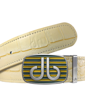 Cream Crocodile Textured Leather Belt with Buckle