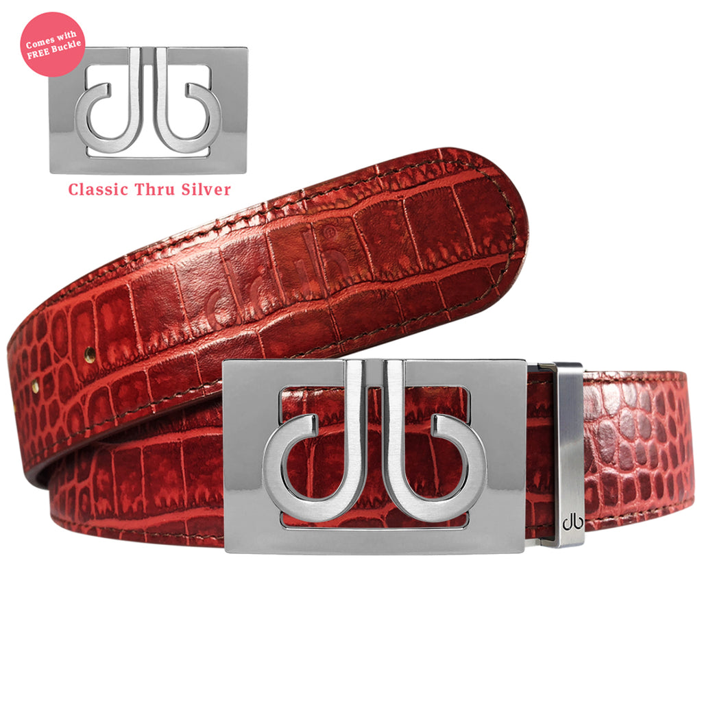 Silver Thru Classic Buckle with Burgundy Crocodile Patterned Leather Belt