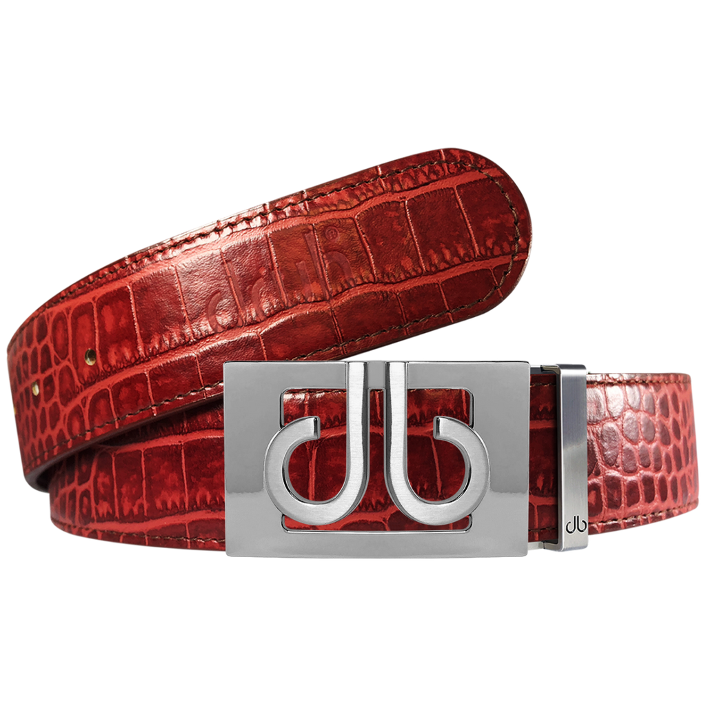 Burgundy Crocodile Textured Leather Belt with Buckle