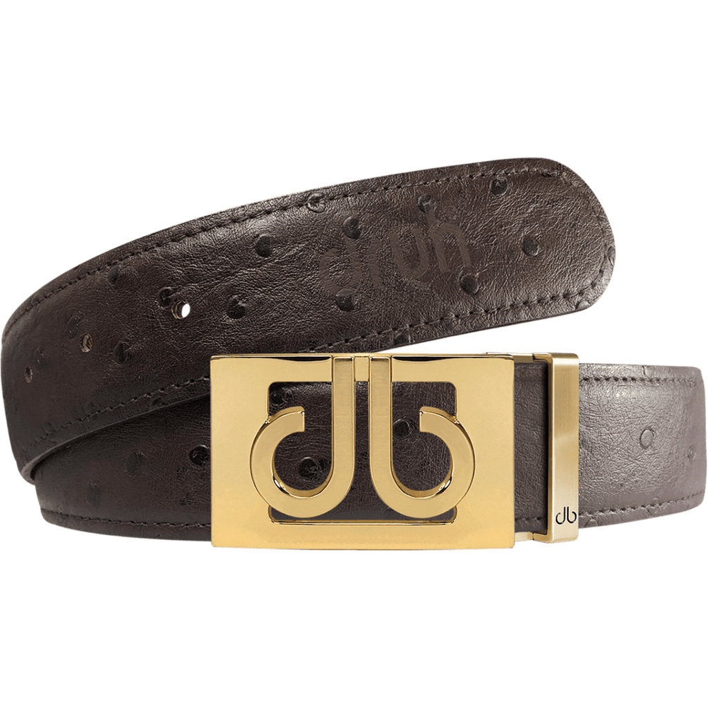 Brown Ostrich Textured Leather Strap with Buckle