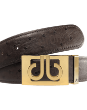 Gold Thru Classic Buckle with Brown Ostrich Patterned Leather Belt