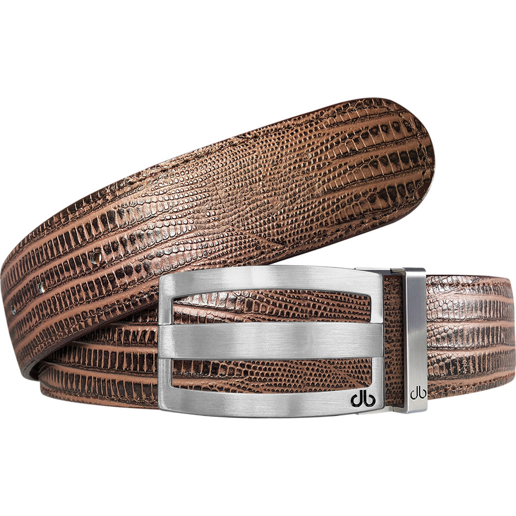 Silver Stripe Classic Buckle with Brown Lizard Patterned Leather Belt
