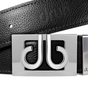 Silver Thru Classic Buckle with Black Full Grain Patterned Leather Belt