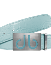 Aqua Crocodile Textured Leather Belt with Buckle