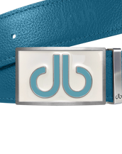 Double Infill White & Aqua Buckle with Aqua Full Grain Patterned Leather Belt