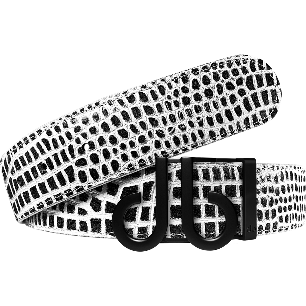 Black and White Crocodile Textured Leather Belt with Matte Black DB Icon Buckle