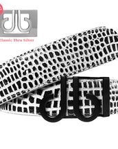 Matte Black DB Icon Buckle with Black and White Crocodile Patterned Leather Belt