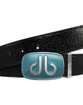 Shiny Black Stingray Leather Belt with Aqua Big Buckle