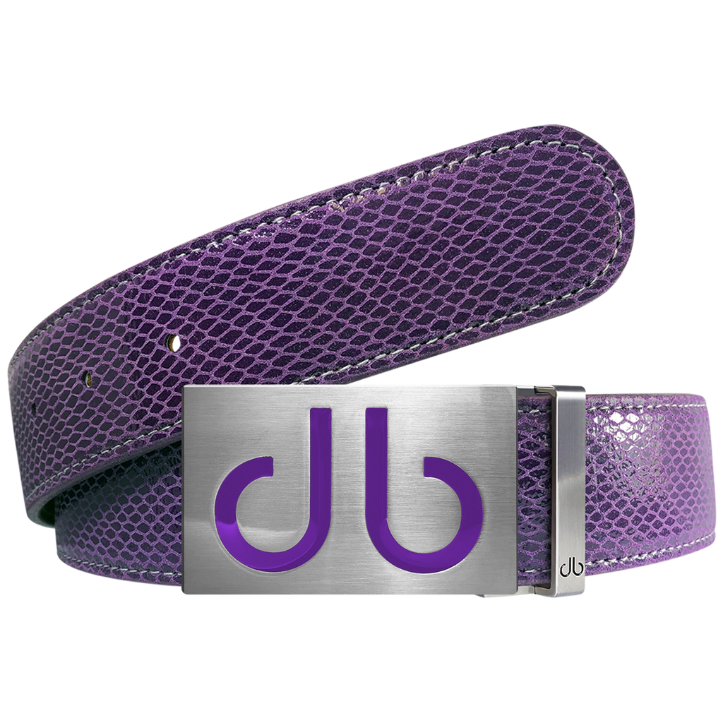 Purple Snakeskin Textured Leather Belt with Purple Infill Buckle