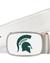 Michigan State University Belt - Big Buckle White Buckle with White Crocodile Textured strap