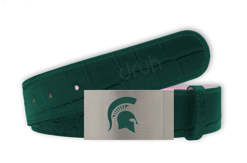 Michigan State University Belt - Silver Buckle with Green Crocodile Textured strap